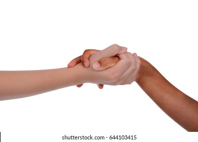 young children holding hands white background