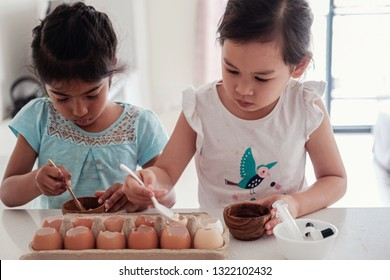 young children planting seedlings in reuse eggshells, montessori homeschool education, Eco, zero waste, green sustainable living concept