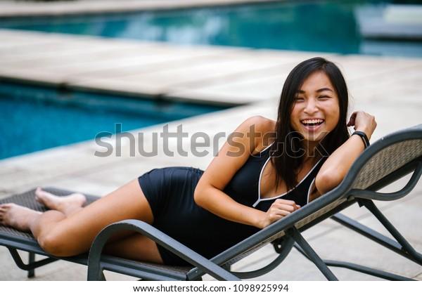Amazing Young Chinese Asian Woman Singaporean Sitting Stock Image Creativecarmelina Interior Chair Design Creativecarmelinacom