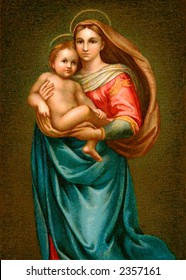 The young Christ Child and His mother Mary - an early 1900's vintage illustration