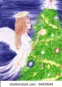 A young Christmas Angel decorating a Christmas tree with ornaments