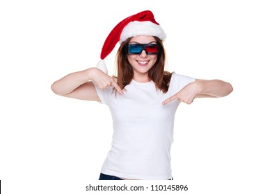young christmas woman in 3d glasses pointing at her white t-shirt