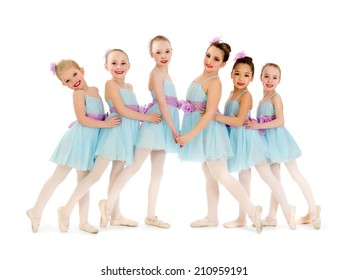 Young Class of Ballerina Dancers Pose for Recital Photo
