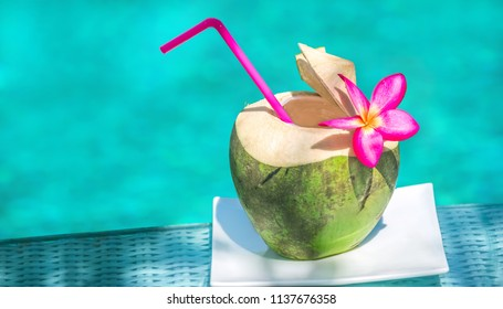 Young coconut decorated with plumeria flowers by the pool or the sea Koh Samui Surat Thani Thailand