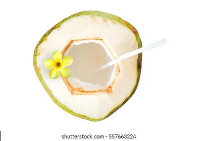 Young coconut with flower isolated on white background,Top view.