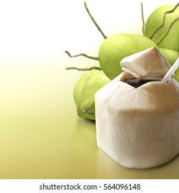 Young coconut on solid background