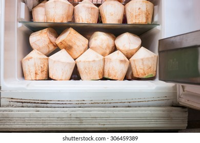 Young coconuts are in the refrigerator.