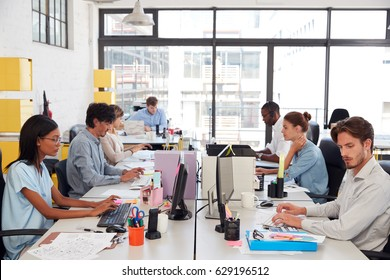 Young colleagues working in a busy open plan office