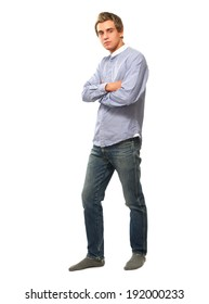 A young college guy, isolated on white