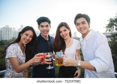 Young College students having party