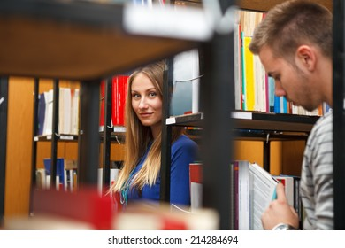 young college students in library