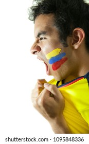 Young colombian fan celebrating a goal
