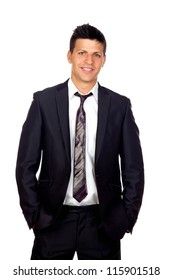 Young Confident young business man standing against white background