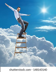 young confident businessman standing at the ladder high in the sky balancing on top / young man in shirt and tie pulls his arms out to the side like an airplane on top of the ladder on heaven