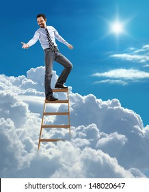 """""""young confident businessman standing at the top of ladder high in the sky lends a helping hand / young man in shirt and tie extends his hand down while standing high in heaven"""""""