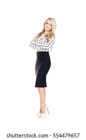 Young, confident, successful and beautiful business woman isolated on white. Occupation, career, job concept.