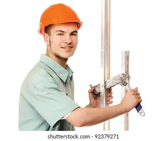 A young construcation worker , isolated on white background