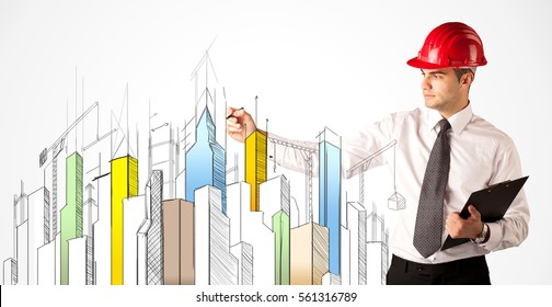 Drawing Lines With Arrows In Photo : Young construction site worker red safety stock photo royalty