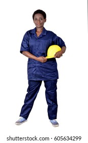 Young construction worker holding his helmet on a white background.