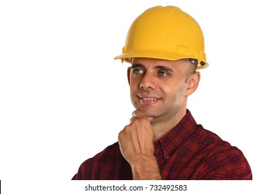 Young construction worker wearing hard hat isolated over white background