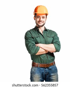 Young construction workers in hard hats on a white background
