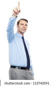 Young consultant indicating in upward direction isolated against white background