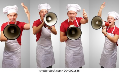 Young cook using megaphone