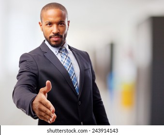 young cool black man confidence shake hands