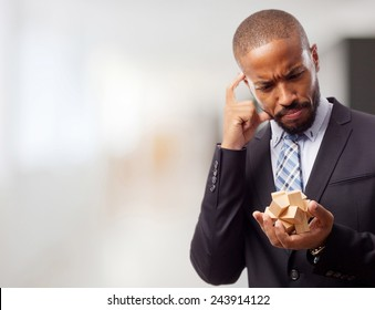 young cool black man solving a problem