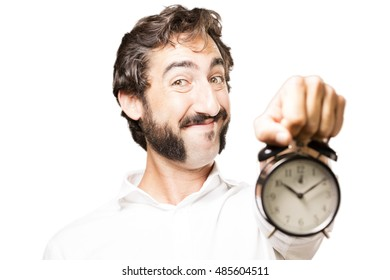young cool man with a alarm clock