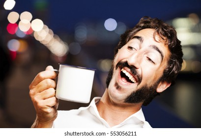 young cool man with a coffee
