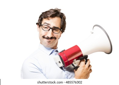 young cool man with a megaphone