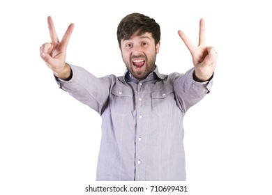 young cool victory gesture