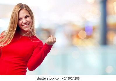 young cool woman celebrating sign