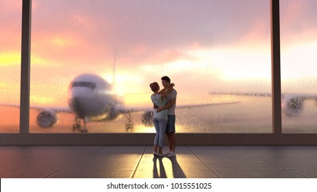 young couple in airport, 3d illustration