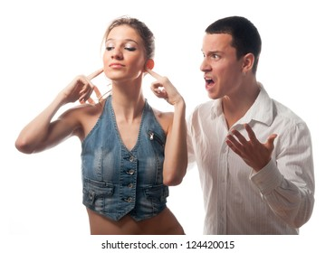 Young couple arguing isolated on white.
