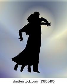 young couple ballroom dancing