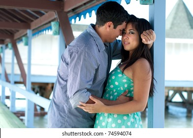 Young couple in the beach cafe