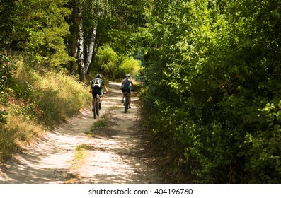 young couple biking on a trail track to the hill in the summer forest