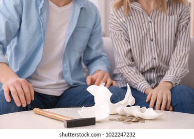 Young couple with broken piggy bank at home