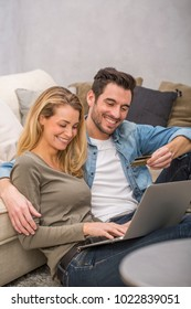 young couple buying on internet, online shopping
