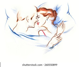 young couple caressing laying in bed together in lingerie being romantic hugging and kissing