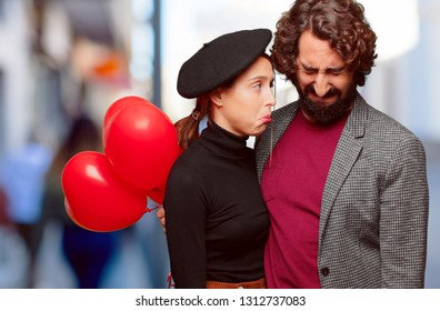young couple celebrating valentine´s day. love concept