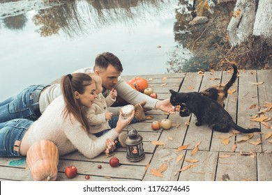 A young couple with a child resting on a wooden dais near a lake. The man feeds the cat with cream. Decoration of fallen leaves, pumpkins and apples. Halloween Eve