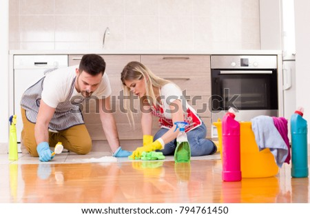 Young Couple Cleaning Kitchen Floor Brush Stock Photo (Edit Now ...