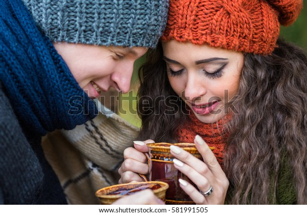 young couple with cup of coffee