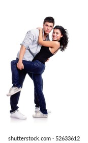 young couple dancing pose, isolated on white