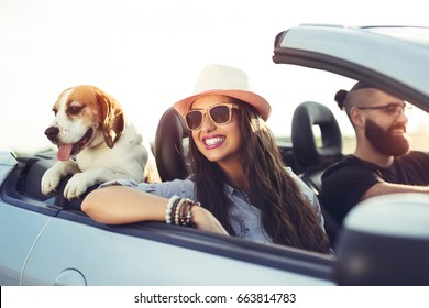 Young couple with a dog driving in a convertible