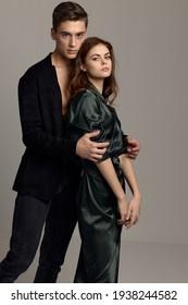 Young couple embrace romance passion luxury attitude