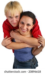 Young couple embraces top view. Isolated